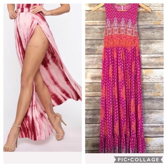 Free People Dresses & Skirts - Maxi pink sleeveless ruffle hem FREE PEOPLE S NEW